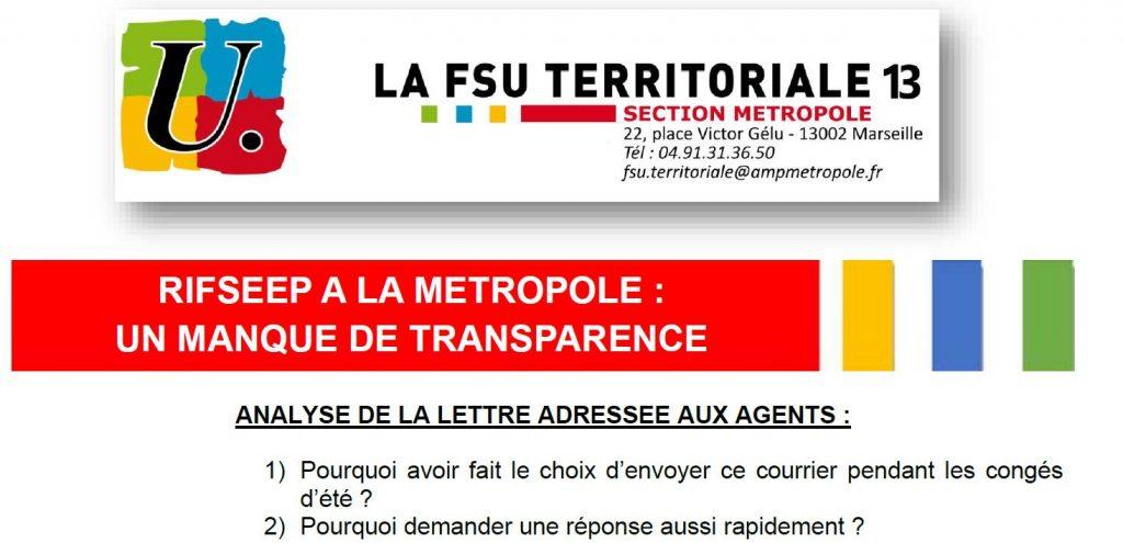 RIFSEEP à la Métropole: un manque de transparence