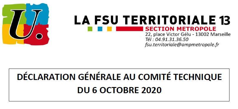 Comité Technique du 6/10/2020