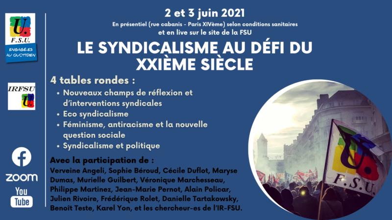 Colloque 2 et 3 juin 21 : le syndicalisme au défi du XXIème siècle