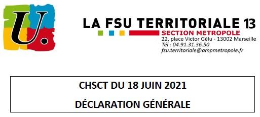 Déclaration générale lors du CHSCT du 18/06/2021