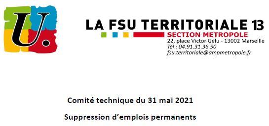 Déclaration de la FSU concernant le rapport sur les suppressions d'emplois lors du CT du 31/05/2021