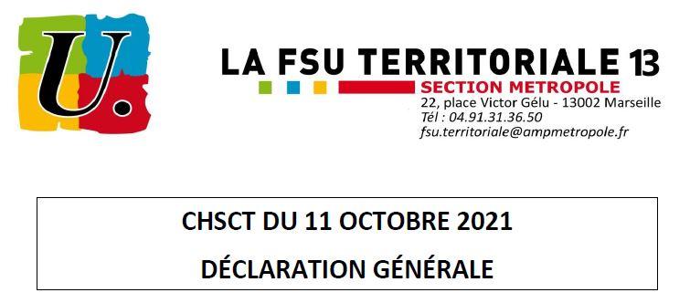 CHSCT: déclaration générale du 11/10/2021