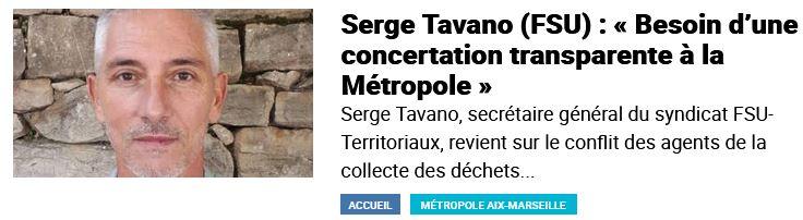 Serge Tavano (FSU) : « Besoin d'une concertation transparente à la Métropole »